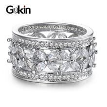 Gukin Female Big Crystal Zircon Stone Ring Luxury Fashion Engagement Rings For Women Vintage Wedding Jewelry engagement rings for women wedding jewelry big crystal stone ring stainless steel jewelry