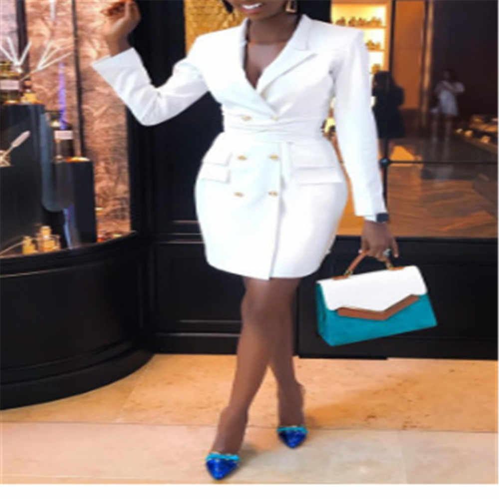 Осеннее офисное женское элегантное платье-Блейзер, весеннее однотонное белое приталенное А-образное двубортное платье-рубашка, OL ретро вечерние платья