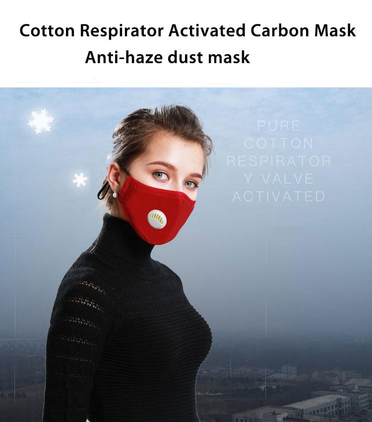 H29b0ec4373aa43a0a5c642fe7435cf7cM Korean Fabric mouth face mask PM2.5 Anti Haze/Anti dust mouth mask Respirator mascaras With Carbon Filter Respirator Black Mask