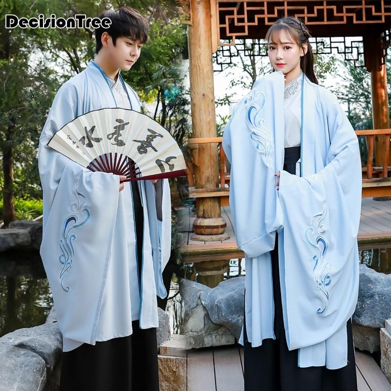 2020 Hanfu Oriental Couple Costume Chinese Song Ming Dynasty Hanfu Men Blue Hanfu Cosplay Couple Hanfu Dalam Tv Embroidery Cape