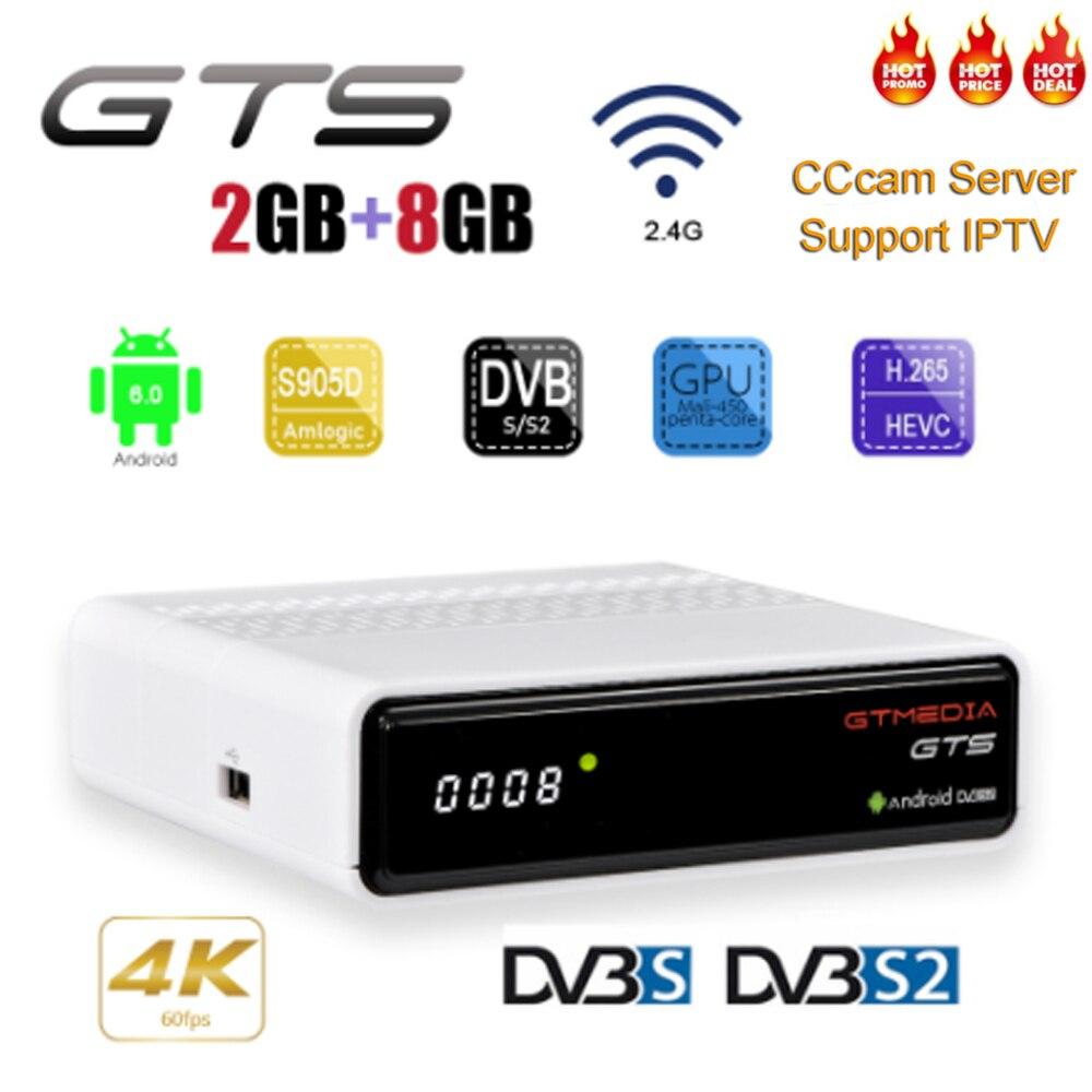 GTS GTMEDIA DVB-S2 4K Android TV Box Receptor Bluetooth Caixa de TV Receptor de Satélite de apoio Cccam IPTV m3u PK freesat v8 nova