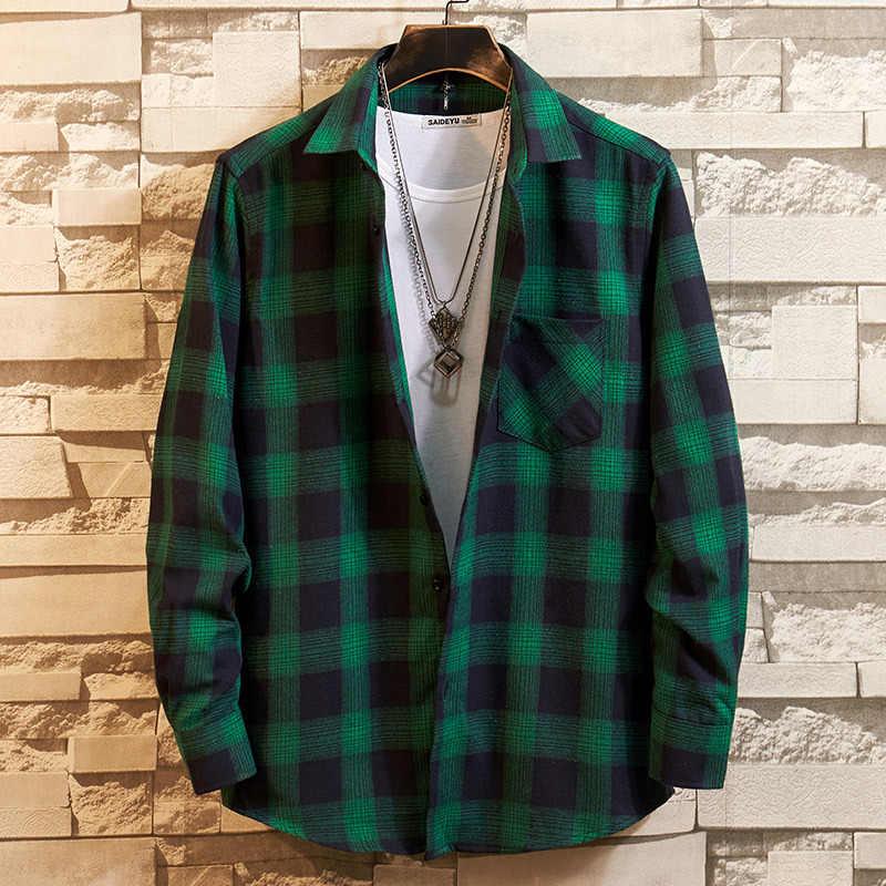 綿 100% フランネル男性の格子縞のシャツスリムフィット春秋男性ブランドカジュアル長袖シャツソフト快適な 4XL
