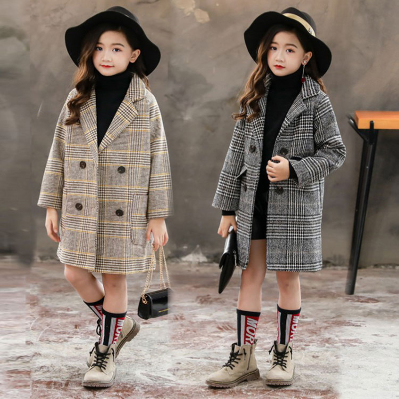 2019 Winter Girls Cotton Long Jackets Kid's Outerwear Clothes Toddler Children Clothes Casual Turn-down Collar Plaid Woolen Coat