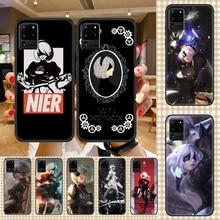 Nier automata tipo b caixa do telefone para samsung galaxy note 4 8 9 10 20 s8 s9 s10 s10e s20 plus uitra ultra preto pintura capa arte