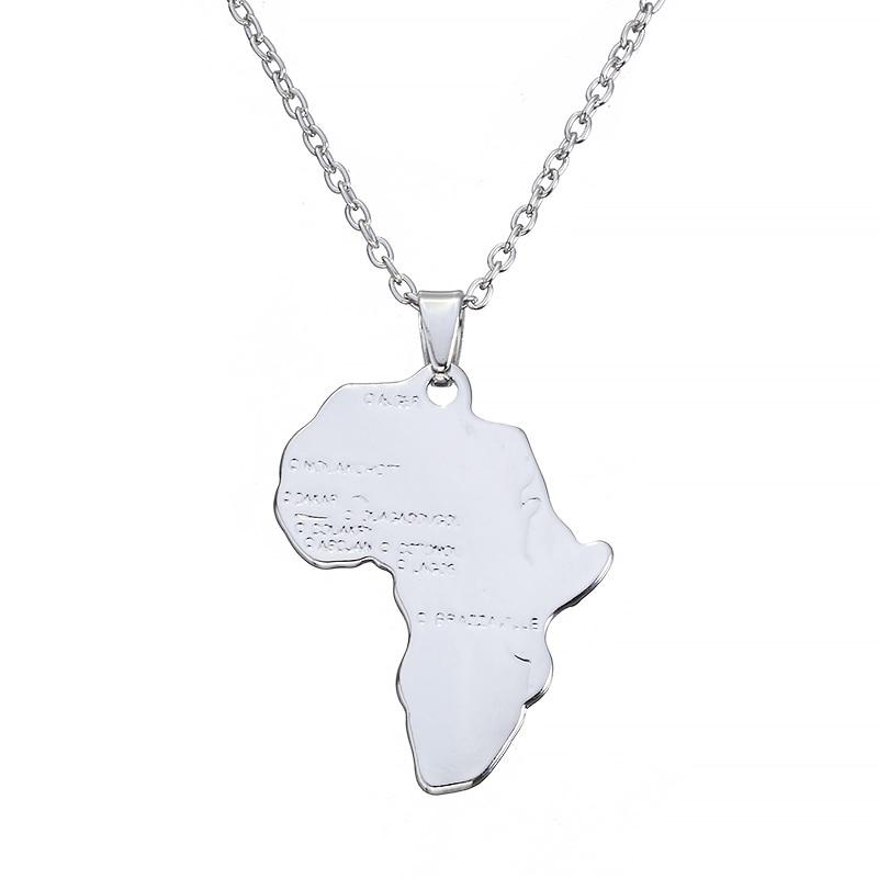 ZRM Мода хип хоп Шарм африканские ювелирные изделия для женщин/мужчин подарок Мода кулон Карта Африки ожерелье 30 мм* 37 мм - Окраска металла: Silver Plated