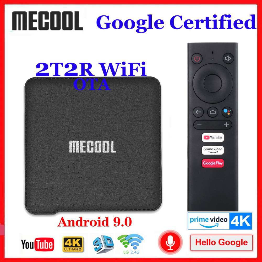 2020 NEW Google Certified Mecool KM1 Android 9.0 TV Box 2T2R WiFi Amlogic S905X3 Smart Androidtv 4K Media Player Prime Video 4K
