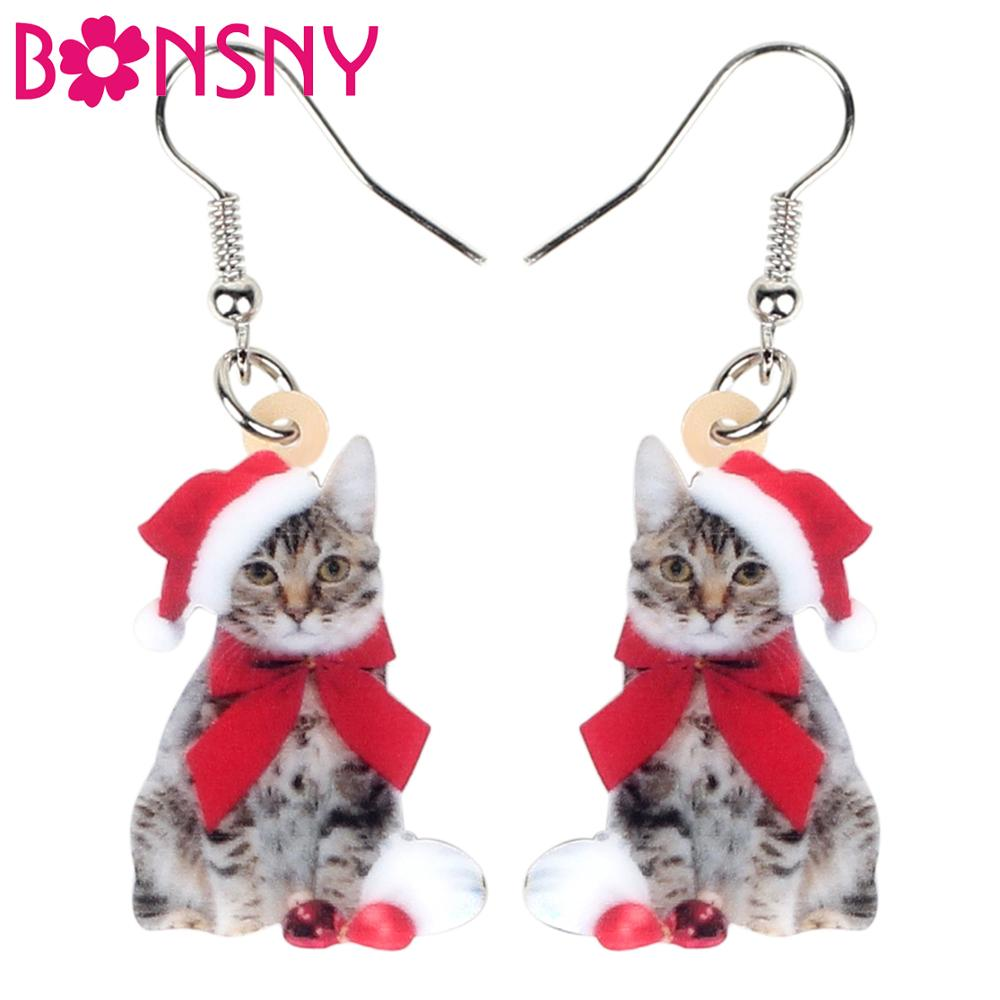 Bonsny Acrylic Christmas Bow-Knot Cat Kitten Earrings Dangle Drop Pets Jewelry Women Girl Teen Kid Bulk Festival Birthday Gift