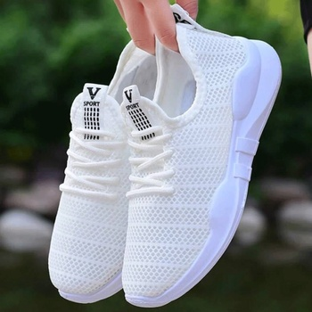 Hot Selling Summer New Style Womens Outdoor Sneakers Comfortable Breathable Hollow Casual Shoes Sports Mesh Womans White