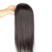Topper Hairpiece Human-Hair Women Natural-Black Remy with Clip-In Straight 16'' for 15x15cm