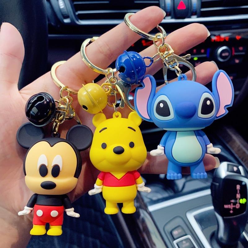 New Disney Mickey Minnie Stitch Daisy Keychains Bell Cute Cartoon Boy Girl Key Ring  Lovely Bag Key Chain Accessories