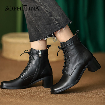 Ankle Boots Women New Fashion Cow Leather Cross-Tied Zipper Lady Boots Square Toe High Heel Casual Female Shoes SO875 Apparels Shoes