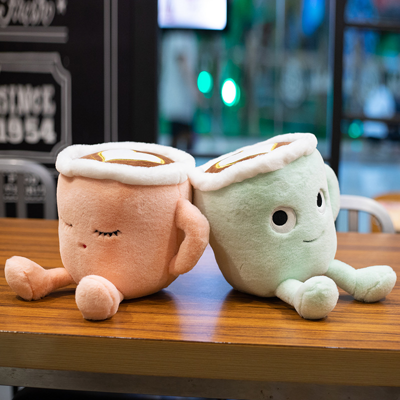 Cute 20CM/30CM Matcha Latte Coffee Filled Plush Toy Pillow Stylish Milk Tea Cup Toy Doll Coffee Quilt Pillow Kid's Birthday Gift