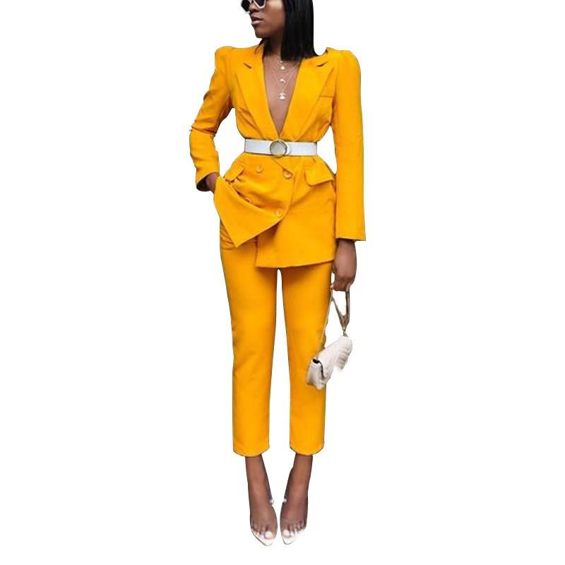 2019 Fall Office Lady Blazer Suit Women Tracksuits Sexy Notched Double Long Sleeve Blazer Straight Pants Set