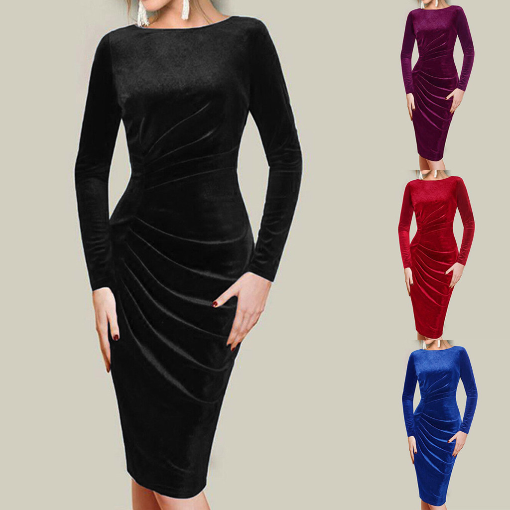 long sleeve bandage dress carf length Women O-neck Velvet Elegant Stretch Slim ladies long party dresses#3