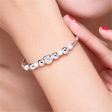 Ethnic style beaded ladies bracelet retro fashion exquisite ball silver plated jewelry wholesale