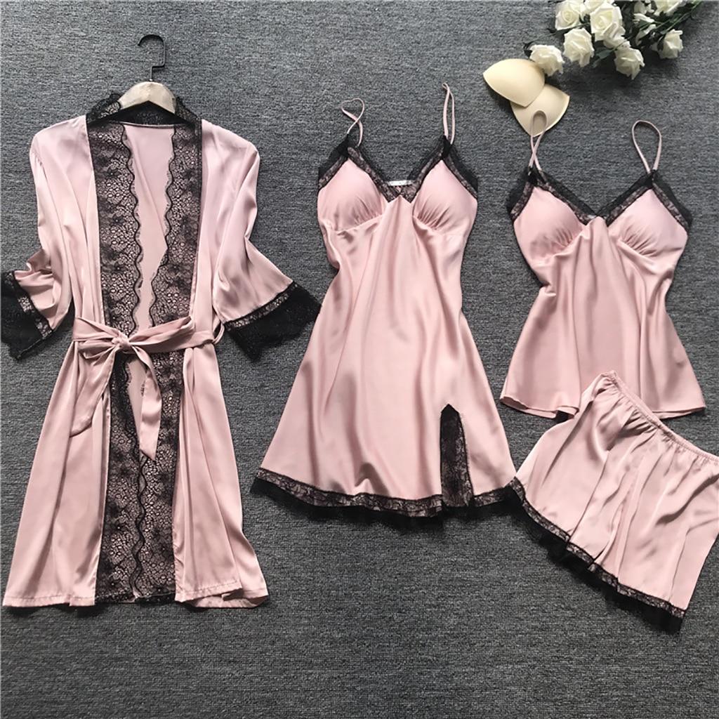 Plus Size 2XL 4 PCS Women Pajamas Sets Satin Silk Sleepwear Nightwear For Summer And Autumn Pyjama Spaghetti Strap Lace Pijama