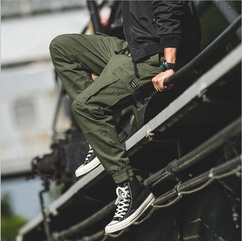 2019 New Fashion Four Seasons Men's Military Black Two-color Multi-pocket Cargo Pants Harlan Harajuku Sports Pants Beam Feet Pan