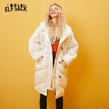ELFSACK Black Solid Doodling Embroidery Straight Hooded Warm Down Coat Women 2020 Winter White Horn Button Female Korean Outwear(China)