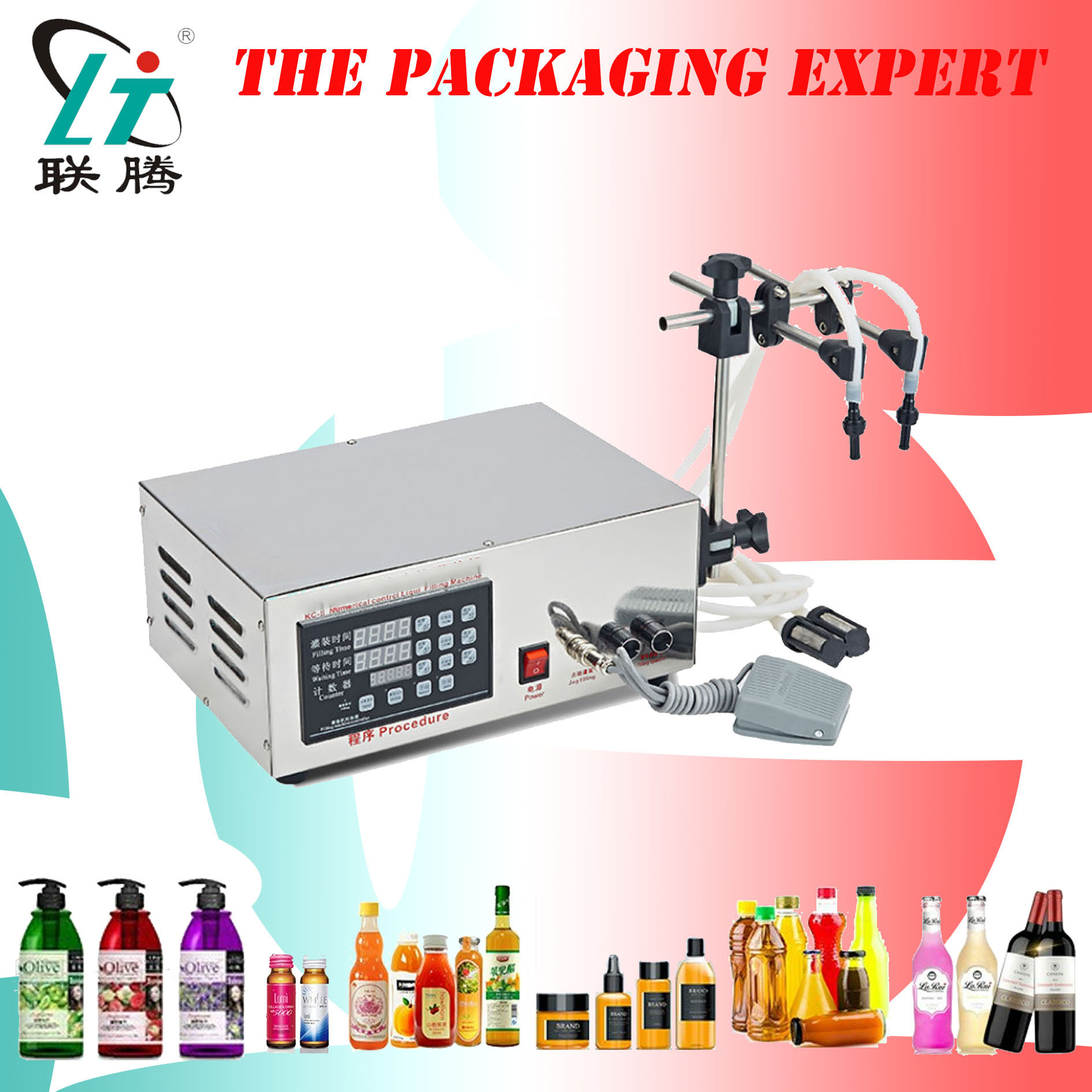 Double Heads Liquid Filling Machine Digital Filler Water Perfume Milk Vinegar Soy Sauce Drinking Beverage Juice 5-5000ml