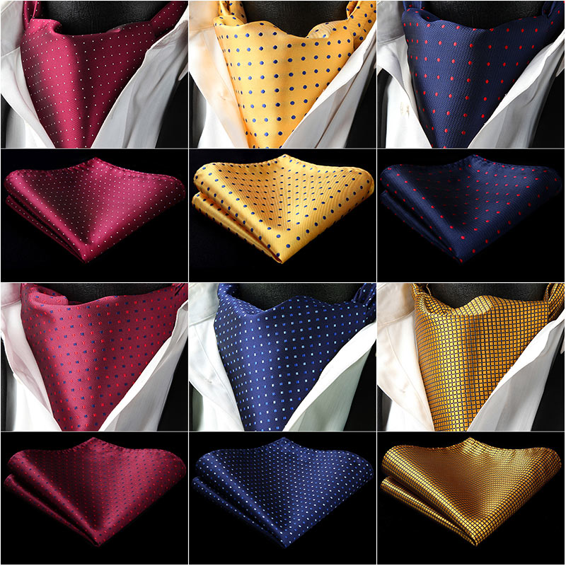 HISDERN Check Plaid Ascot Cravat Woven Classic Men's Necktie Red Yellow Navy Blue #RCD Wedding Party