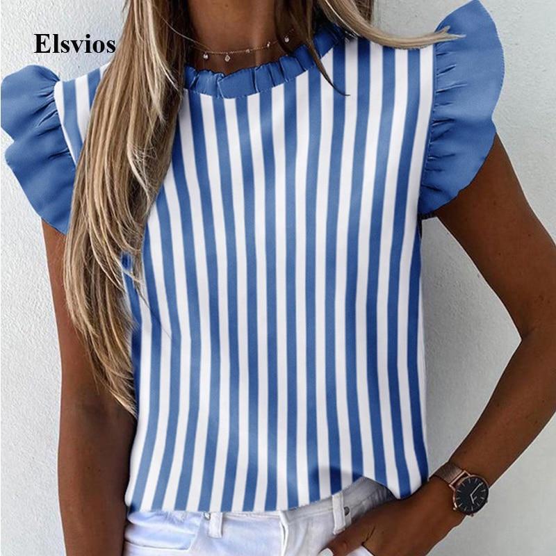 Elegant Striped Print Women Blouse Shirt Casual Summer Butterfly Short Sleeve Shirts 2020 Office Lady Ruffle O Neck Tops Blusa