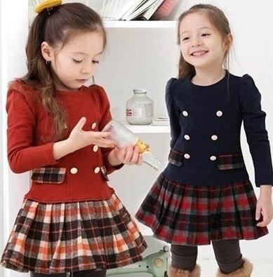 2019 outono inverno bebê meninas manga longa xadrez vestido de princesa nova moda crianças roupas de festa vestido da criança vestidos