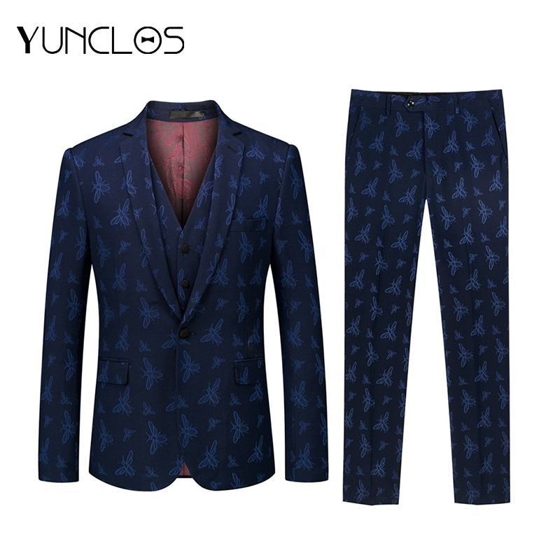 YUNCLOS  Animal Dark Blue Men's Suit Slim Flat Collar Bee Suits Men Party Tuxedos Singer Stages Suits Men Fast Delivery 2XL