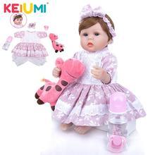 KEIUMI Nette Silikon Rebron Baby Puppen Neugeborenen Baby 17 zoll Realistische Prinzessin 42 cm Kinder Spielkameraden Baby Reborn Mode DIY spielzeug