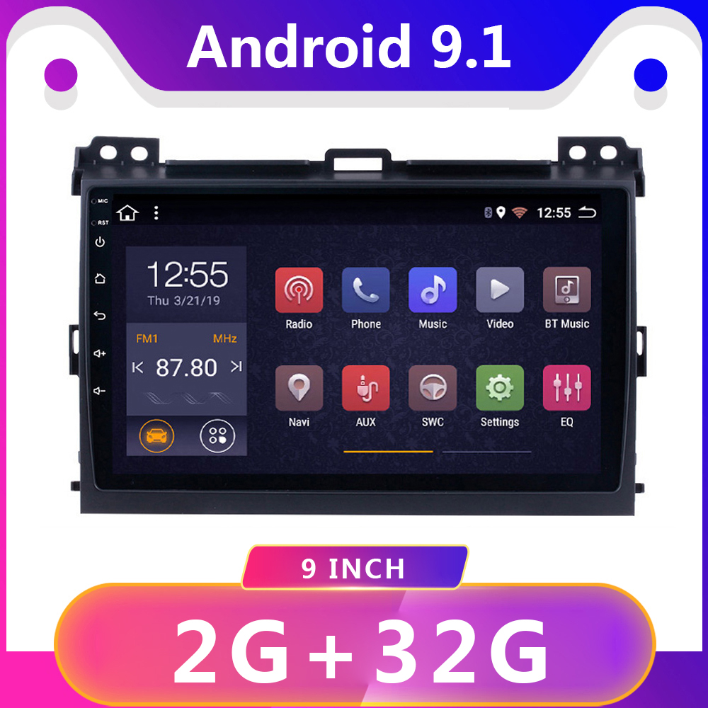 """9"""" 2 din Android 9.1 car dvd multimedia player gps for Toyota Prado 120 Land Cruiser 2004-2009 car radio stereo video player"""