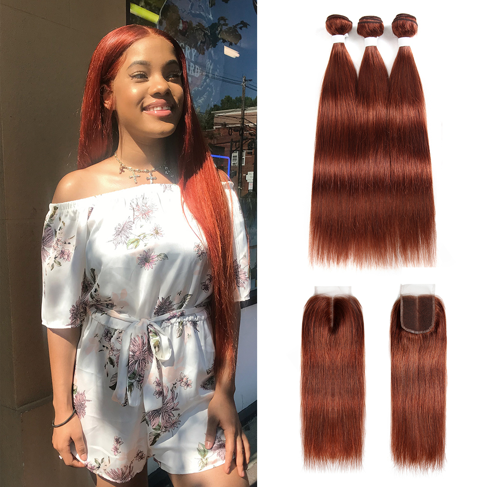 Brown Auburn Human Hair Bundles With Closure 4x4 KEMY HAIR 3PCS Brazilian Straight Hair Weave Bundles With Closure Non-Remy Hair