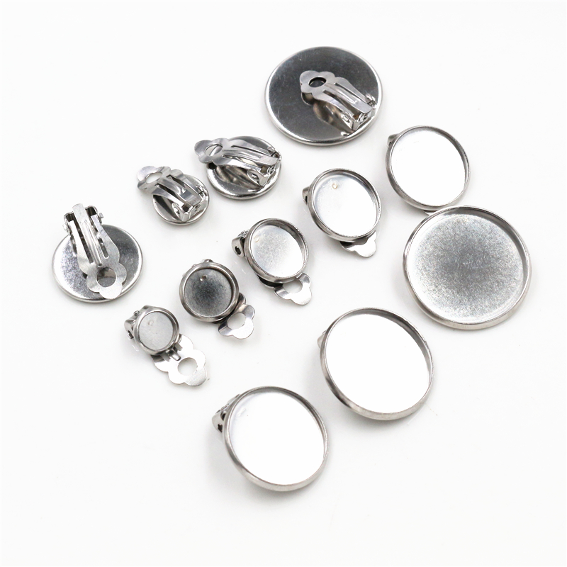 6/8/10/12/14/16/18/20mm 10pcs/lot Stainless Steel Material Ear Clips ,Earring Base Cameo Bezels Tray For Jewelry Supplies