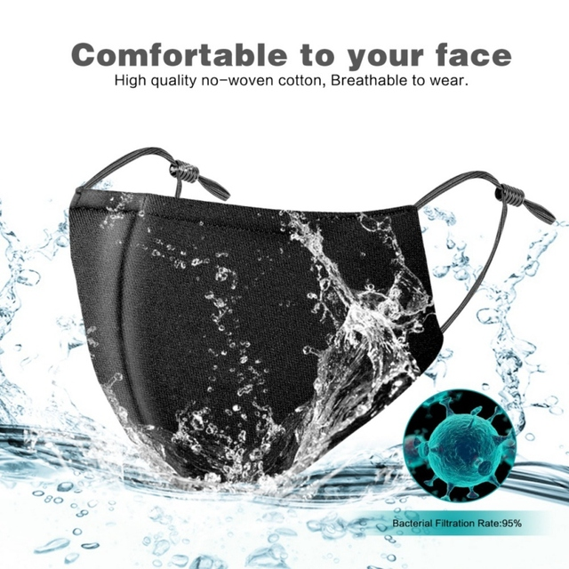 Anit PM2.5 Dust Mask Protective Activated Carbon Filter Mouth-muffle Bacteria Proof Flu Face Masks With 1 filter 5