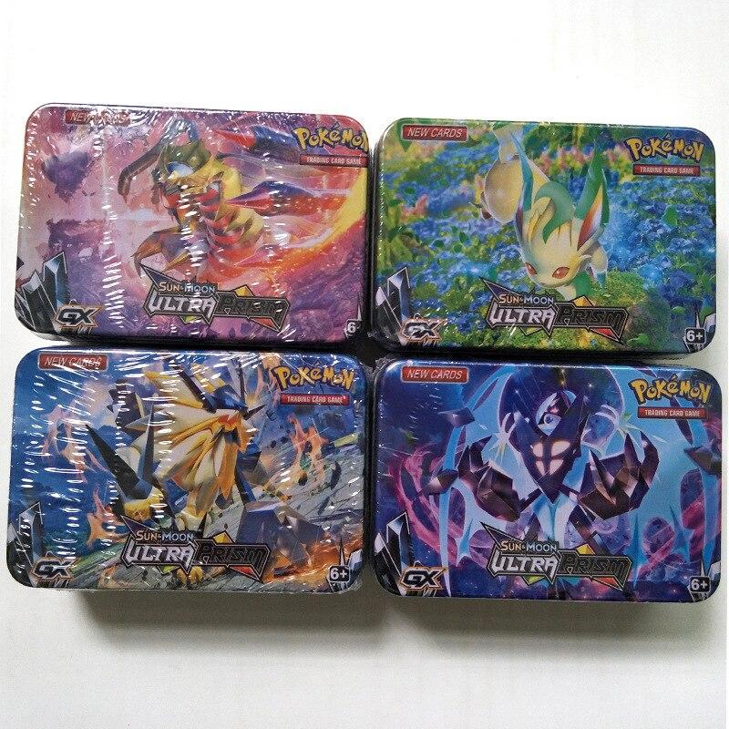 42pcs/set Iron Box Pokemon TAKARA TOMY Battle Toys Pokemon Cards Collectibles Game Collection Anime Cards For Children