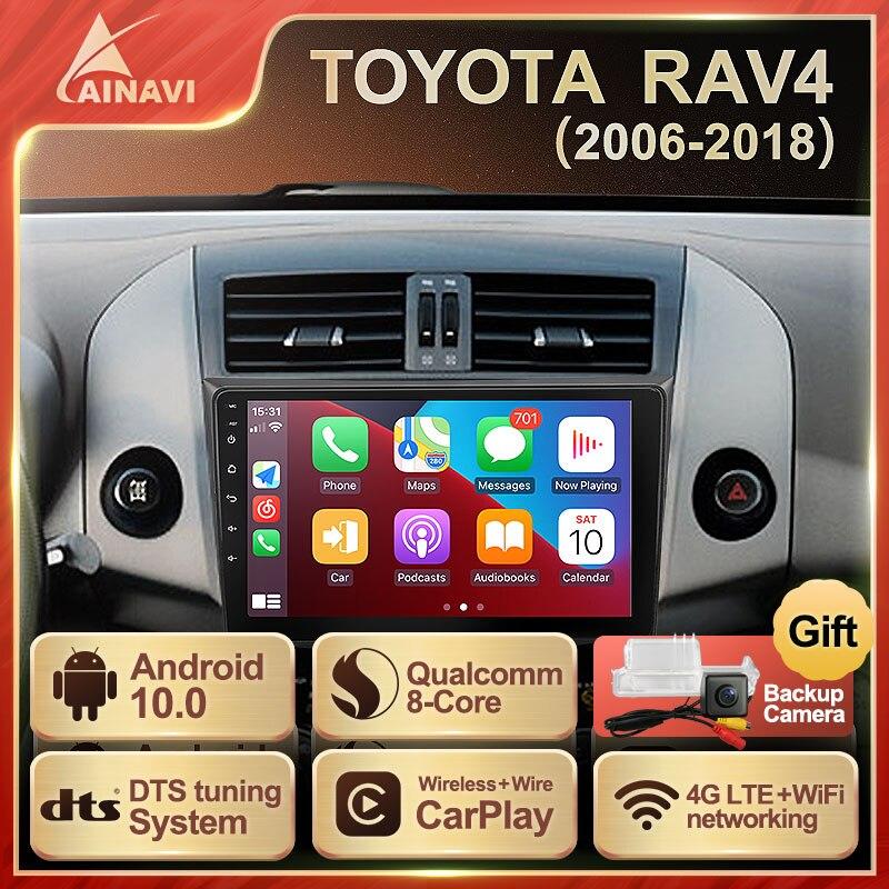 Автомобильный радиоприемник Android 10,0 QLED экран для Toyota RAV4 2006-2018 авто стерео мультимедийная навигация видеоплеер GPS Carplay NO 2 DIN