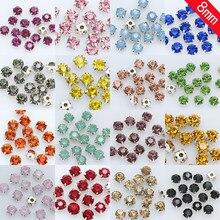 36pc 8 milímetros Sew em vidro de cristal Strass Prata Diamante Flatback Diy Decorativo Copo Garra 4-buracos de Costura contas de roupas artesanais