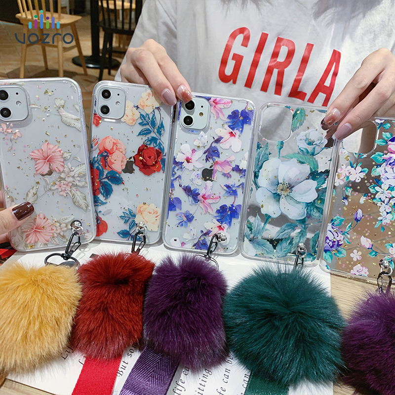 VOZRO Colorful Flowers TPU Phone Case For 2020 Iphone 11 Pro XR XS Max 6 6S 7 8 Plus Case Telephone Covers Accessories Bag image