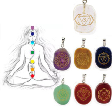 Trendy 7 Chakra Natural Stone Necklace Handmade Engraved Meditation Charm Necklaces & Pendants Jewelry