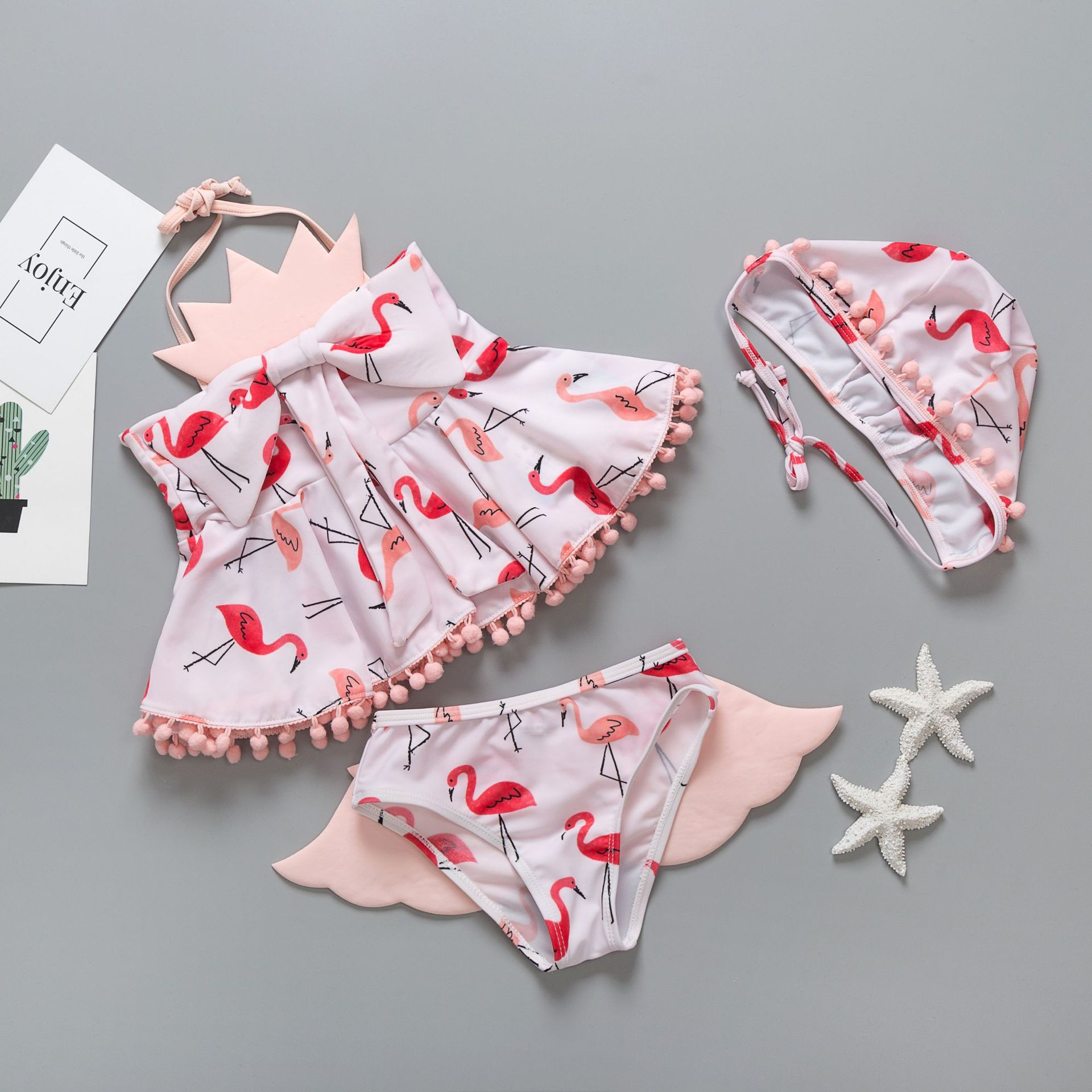 Wholesale Cartoon Animal Firebird Girls' Two-piece Swimsuit Chinlon Bow Liu Su Qiu With Cap Korean-style KID'S Swimwear