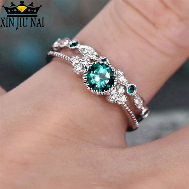 3 Colors Stackable Double Rings Sets For Women 925 Silver Round Green Blue Zircon Stone Engagement Female Birthstone Ring 2