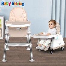Baby Glänzende Hochstuhl Esszimmer Stuhl Fütterung Stuhl Booster Sitz Mit Rad Fütterung Sitz Faltbare Tragbare Weichen PU Höhe-einstellen