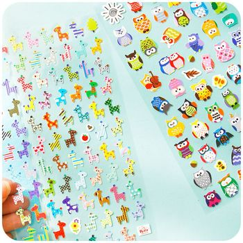 2 Sheet Children Cute Owl Giraffe Reward Stickers School Teacher Merit Praise Sticky Class Paper Lable Kids Toy Stationery Sets image