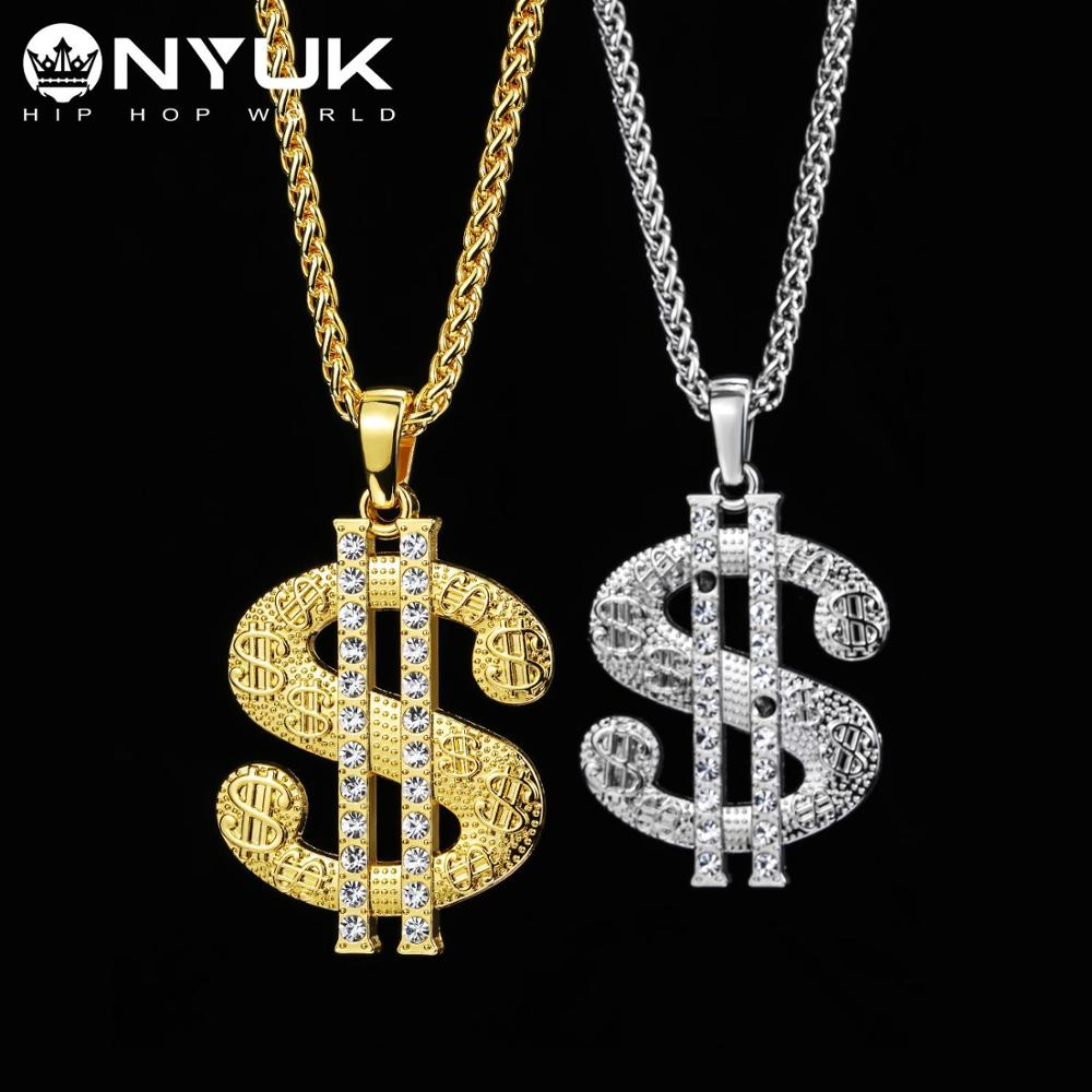 NYUK Hip Hop Jewelry US Dollar Money Pendant Necklaces Luxury Gold Color Long Chain Necklace Men Women Accessories Necklace in Pendant Necklaces from Jewelry Accessories