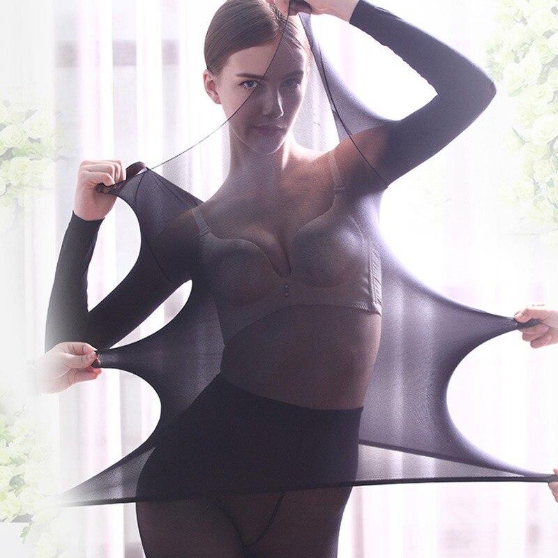 Women Autumn Underwear Set Round Neck Unisex Slim Elastic Seamless Long Ladies Clothing Set Solid Drop Shipping