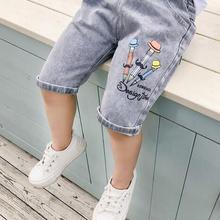 Boys Pants Trousers Leggings Knee-Length Kids Children's Summer Denim Casual New Cartoon
