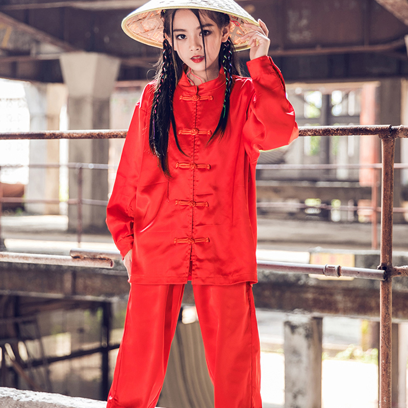 Street Dance Clothes For Kids Chinese Style Hip Hop Dance Performance Costumes Red Long Sleeve Handsome Jazz Stage Wear DQL2656