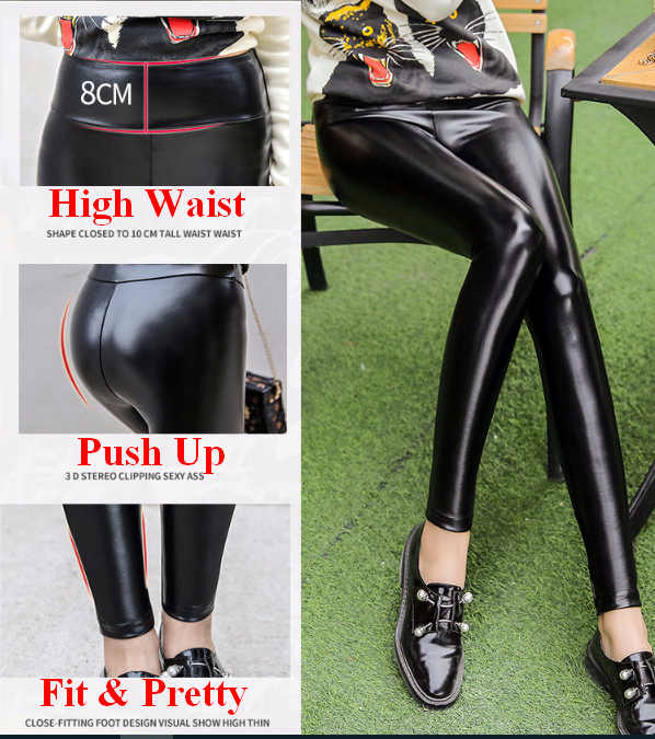 Womens Winter Leggings Sexy Faux Leather Fleece Warm Hoge Taille Broek Pu Legging Leathers Push Up Butt Lift Ouc584