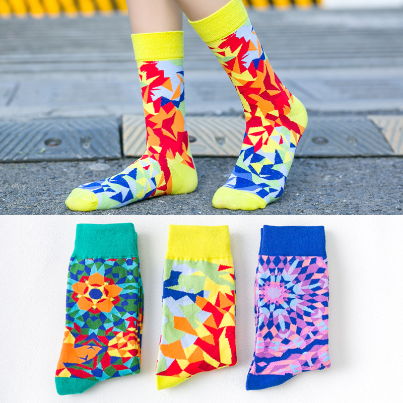 Korean Version Color Diamond Funny Socks Women Big Size Streetwear Calcetines Mujer Meias For Autumn Winter And Spring 121601