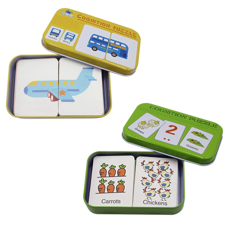 2 Set Educational Learning Toys Anti-Tear Flash Cards Learning Alphabet Puzzle Cards, Matching Puzzle Cognitive Early Mental Sto