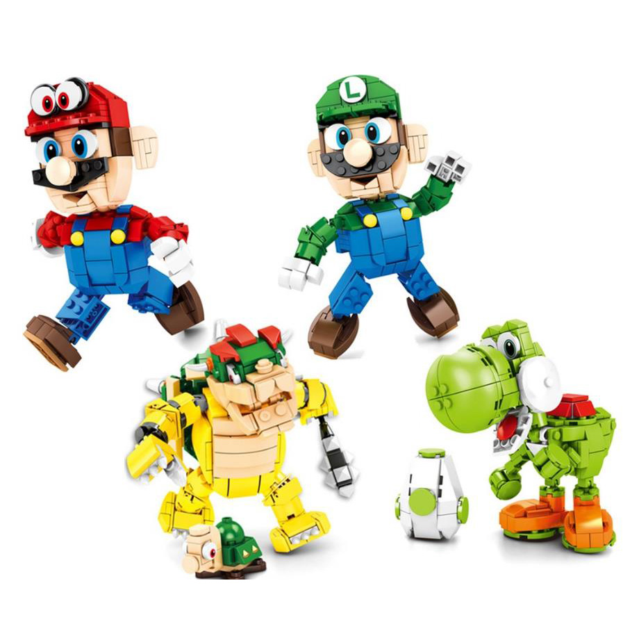 Galleria fotografica Bel gioco anime building block super marioes bros mattoni Luigi dinosauro yoshi Bowser figure <font><b>nintendoes</b></font> giocattoli per i regali per bambini