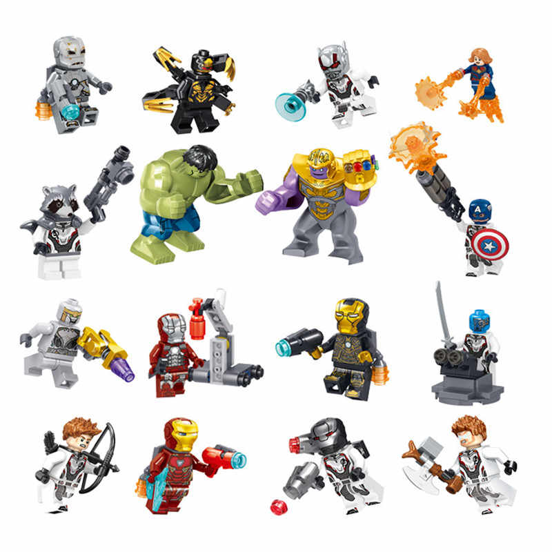 8 pçs/set os vingadores heróis blocos de construção kit hulk & capitão thor & iron-man legoinglys modelo montar tijolos brinquedos para crianças